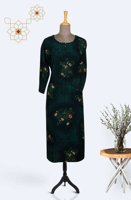 Readymade Casual Rayon Printed Kurti In Bottle Green - R167-11927KA