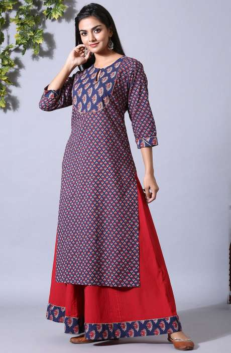 Cotton Blue & Maroon Printed Stitched Kurti with Sharara Pants for Women - R167-12068K