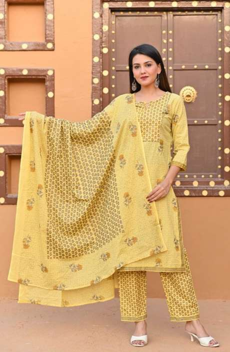 Cotton Yellow Printed Readymade Casual Kurti Sets for Women - R167-12080