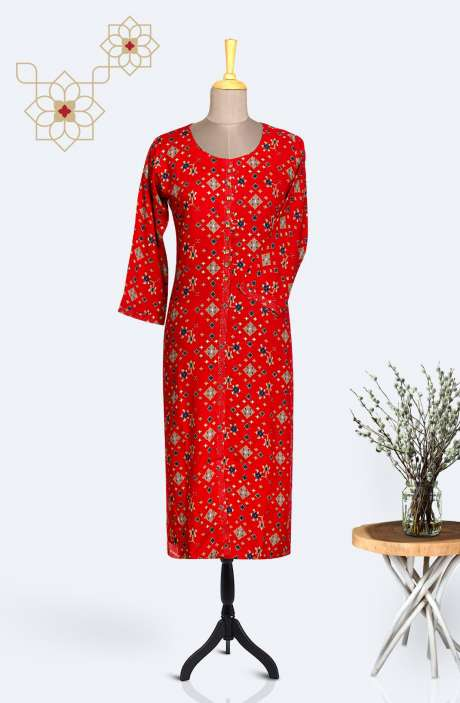 Readymade Casual Rayon Printed Kurti In Red - R167-12087
