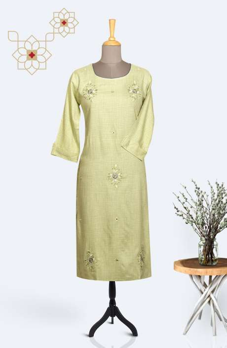 Readymade Casual Cotton Embroidered Kurti In Pista Green - R167-12164A