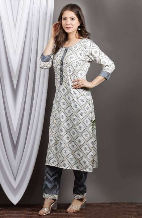 Cotton Cream Grey Printed Stitched Kurti with Pants for Women - R167-12197