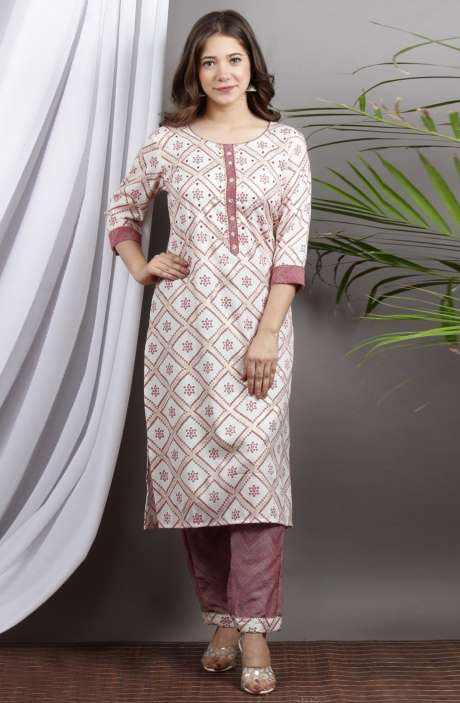 Cotton Cream Coral Printed Stitched Kurti with Pants for Women - R167-12197A
