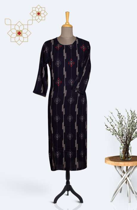Readymade Cotton Printed Kurti In Navy blue - R167-12320