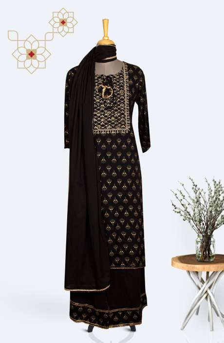 Readymade Cotton Kurti with Palazzo Dupatta Set  In Black - R167-12409