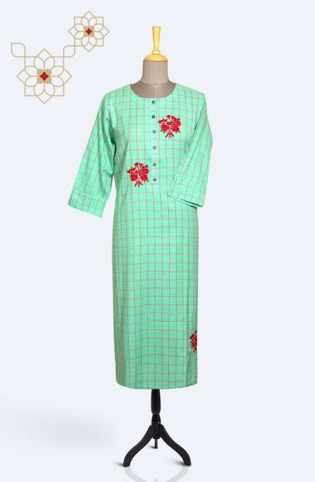 Readymade Cotton Trendy Kurti In Sea Green - R167-9856K