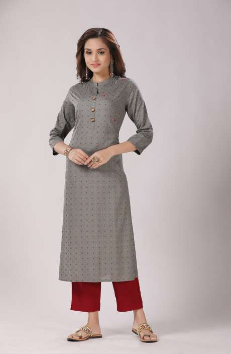 Women Grey Cotton Rayon Printed Kurti - R167-10933K