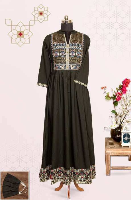 Olive Green Cotton Flared Stitched Printed Long Kurti - R172-SMF3018A