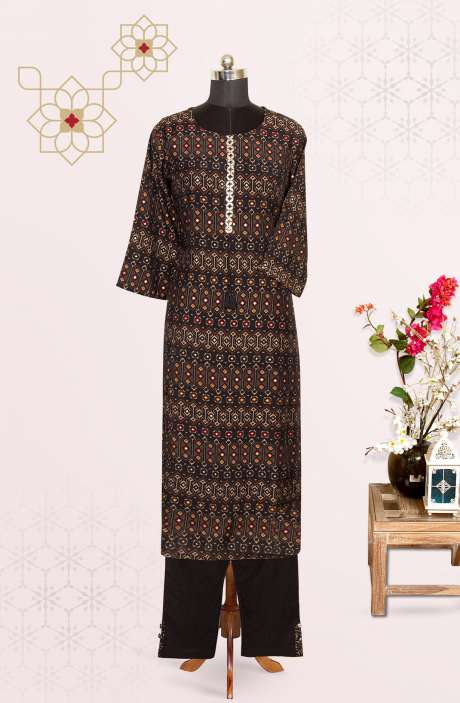 Multi Cotton Printed Top Bottom Suit with Pants - R177-92026