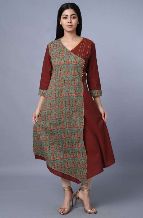 Cotton Green & Maroon Printed Kurti - R179-1001