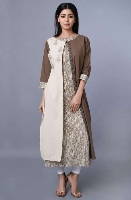 Women Cotton Printed with Embroidered Kurti In Cream & Brown - R179-1003