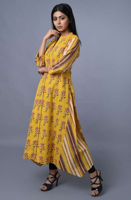 Cotton Printed Kurti In Yellow Color - R179-1004