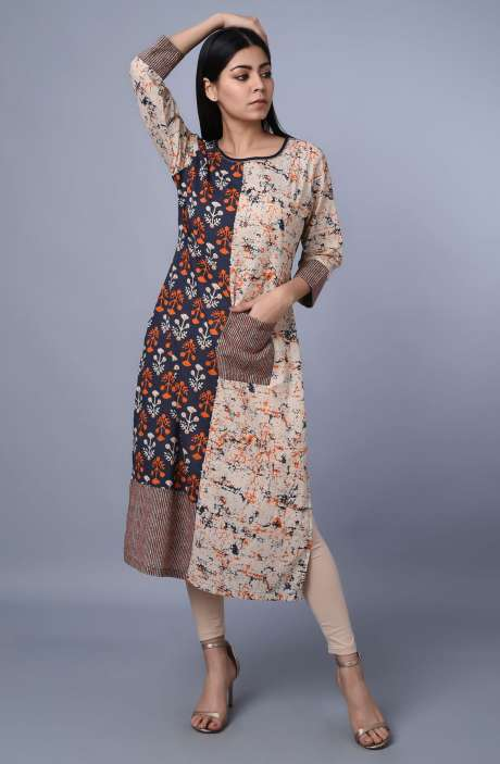 Multi Color Cotton Printed Kurti - R179-1011