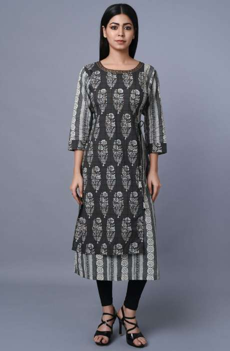 Dark Grey & Off White Cotton Printed Kurti - R179-1013