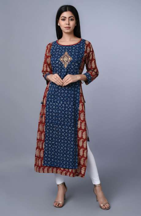 Womens Round Neck Printed Kurti In Blue & Maroon - R179-1019