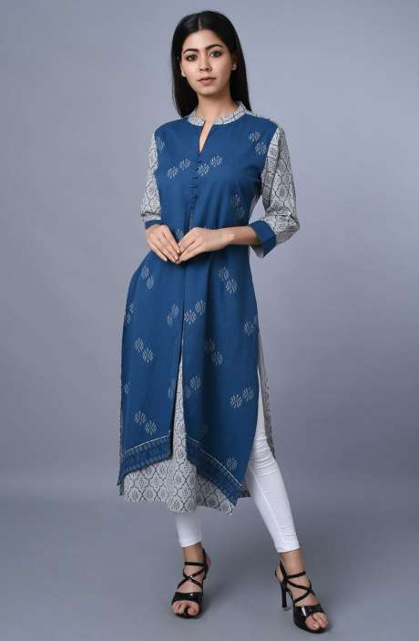 Women Cotton Printed Kurti In Blue & Grey - R179-1020