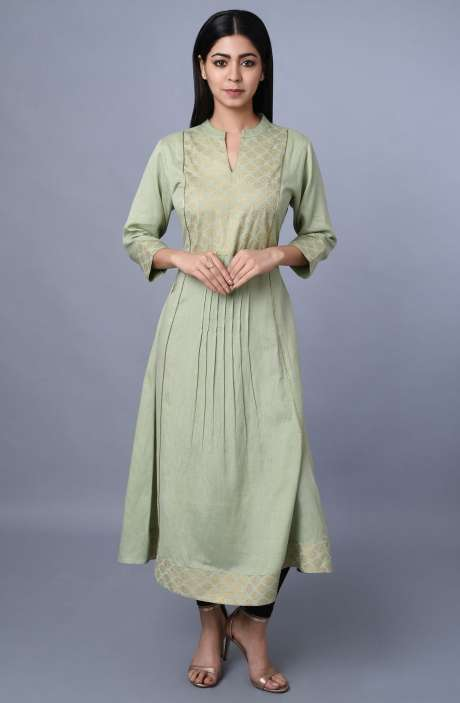 Casual Cotton Printed Kurti In Green - R179-1021