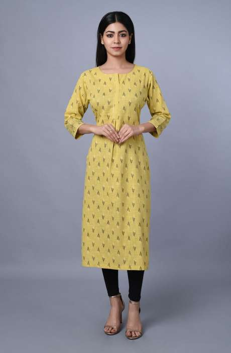 Womens Round Neck Zari & Thread Work Kurti - R179-1025