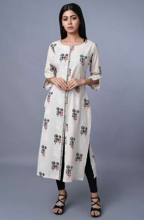Cotton Printed Kurti In Cream - R179-1026