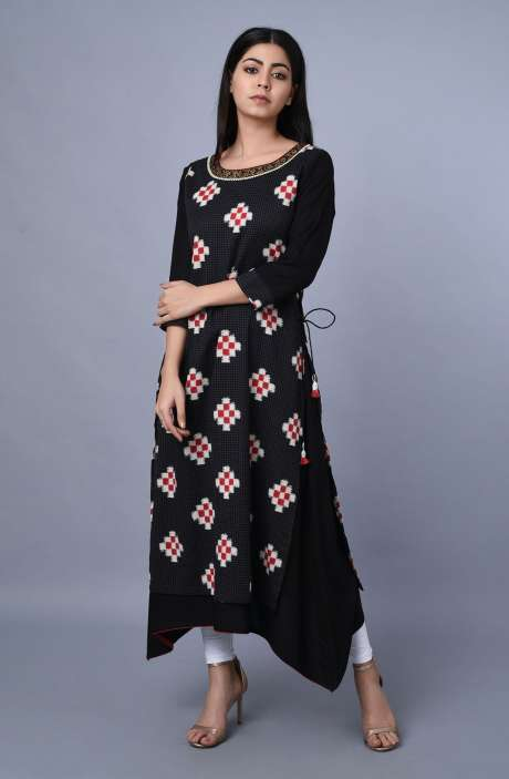 Women Cotton Rayon Black Printed Asymmetrical Kurti - R179-1027
