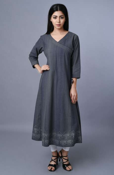 Womens Cotton Grey Striped A-Line Kurti - R179-1031