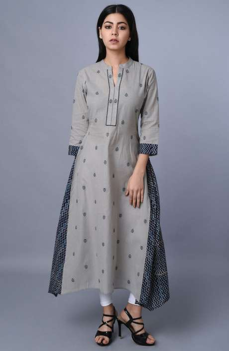Grey Cotton Asymmetrical Kurti - R179-1033