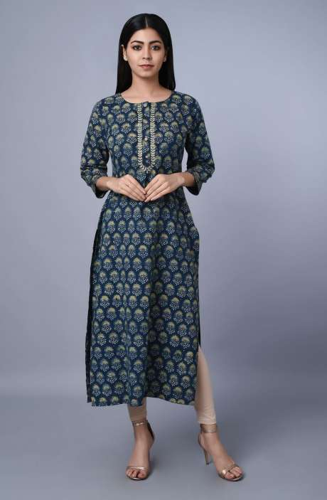 Womens Round Neck Printed Kurti In Greyish Blue - R179-1039