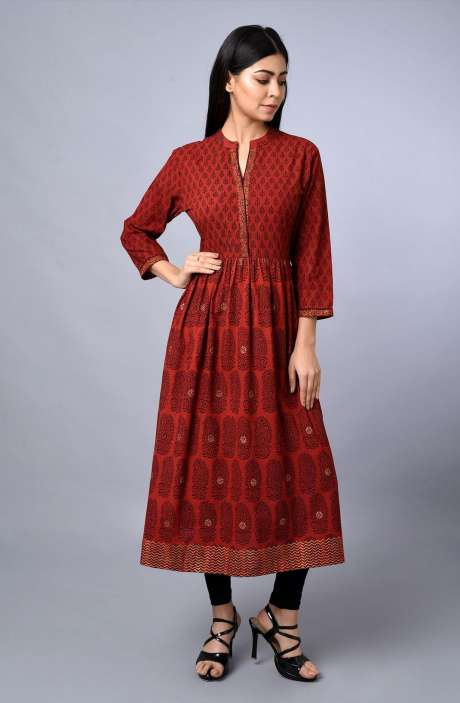 Womens Mandarin Collar Printed Kurti In Maroon & Black - R179-1040