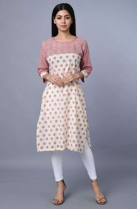 Trendy Cotton Pink & Cream Printed Kurti - R179-1050
