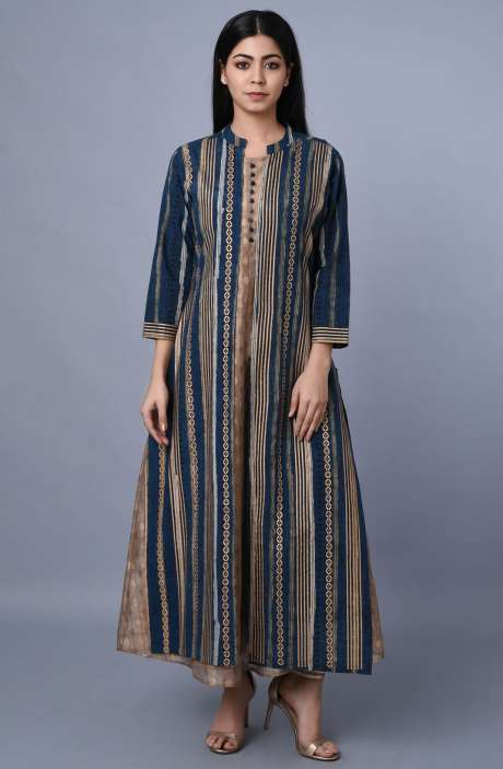 Women Brown & Blue Chanderi Cotton Printed A-Line Kurtis - R179-1061