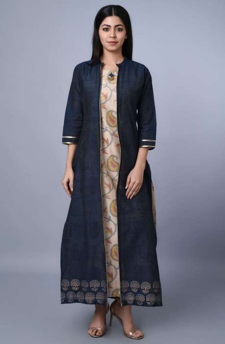 Stylish Blue & Beige Chanderi Kurtis with Long Jacket - R179-1063