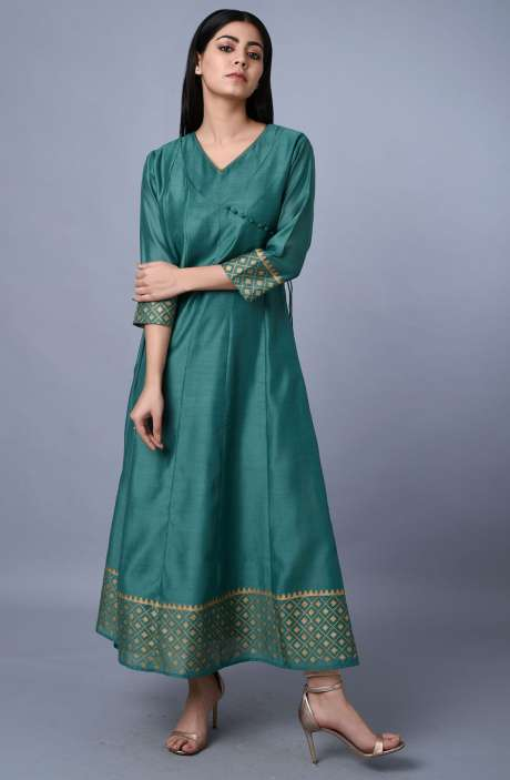 Bottle Green Chanderi Angrakha Style Kurtis - R179-1065A