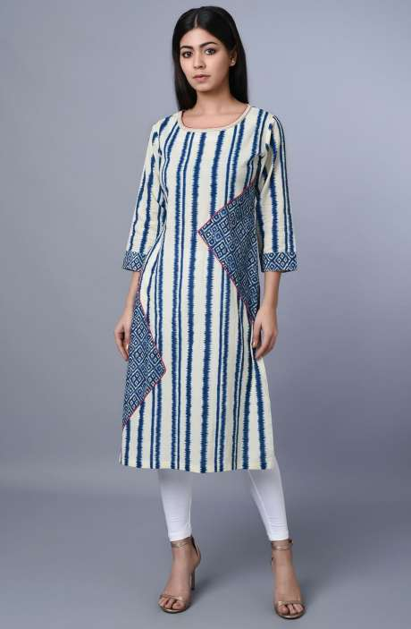 Cotton Blue & Off White Printed Kurti - R179-1067