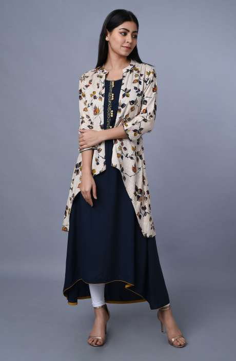 Rayon Cotton Womens Printed A-line Kurta With Long Jacket - R179-1068