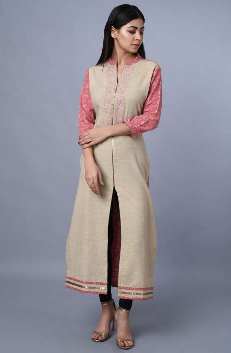 Handloom Cotton Printed with Embroidery Kurti In Beige & Pink - R179-1979