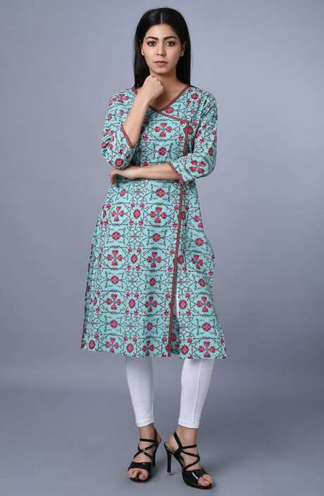 Women Cotton Sea Green Printed Kurti - R179-3332