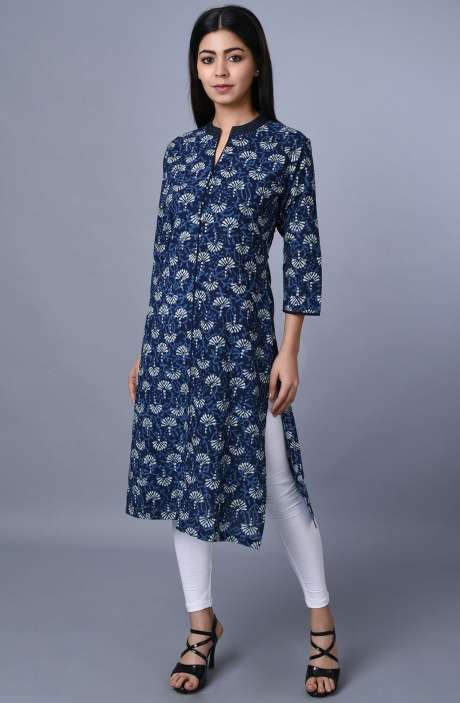 Women Cotton Blue Printed Kurti - R179-3333