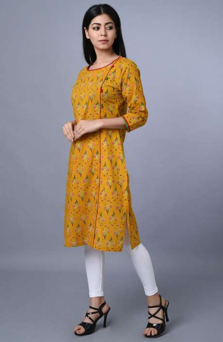 Cotton Mustard Yellow Printed Kurti - R179-3343