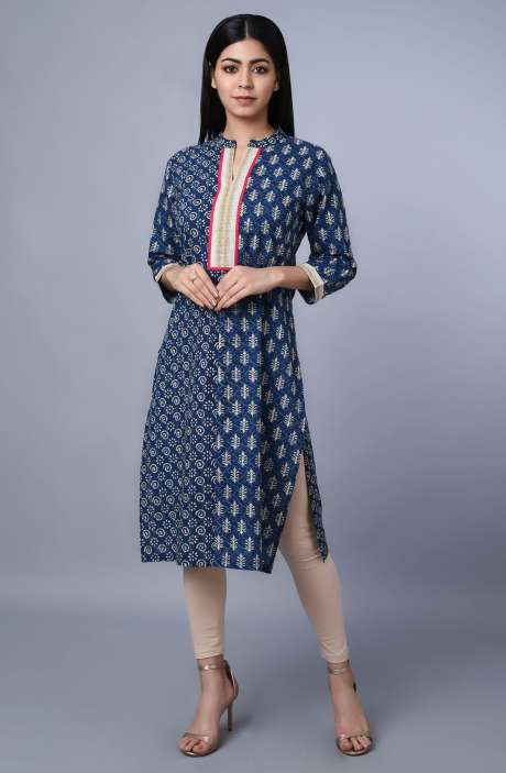Blue Cotton Printed Kurti - R179-3351