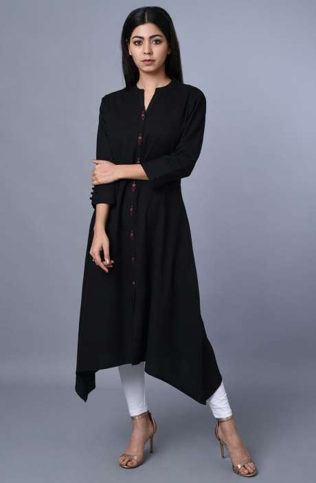 Cotton Black Asymmetrical Kurti - R179-3469
