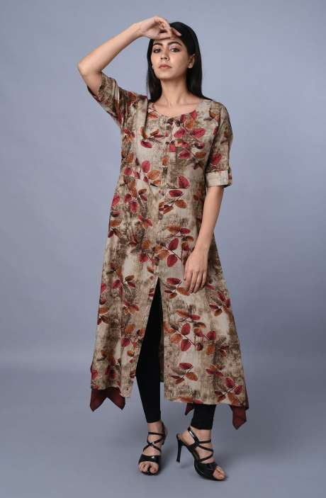 Womens Floral Printed Centre Slit Kurti In Multi-coloured - R179-3512