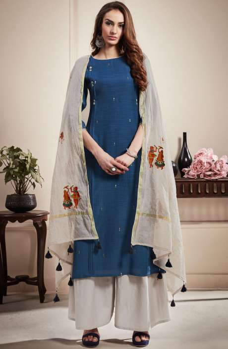 Cotton Beautiful Semi-stitched Salwar Kameez In Blue & Off-White - RAA1801