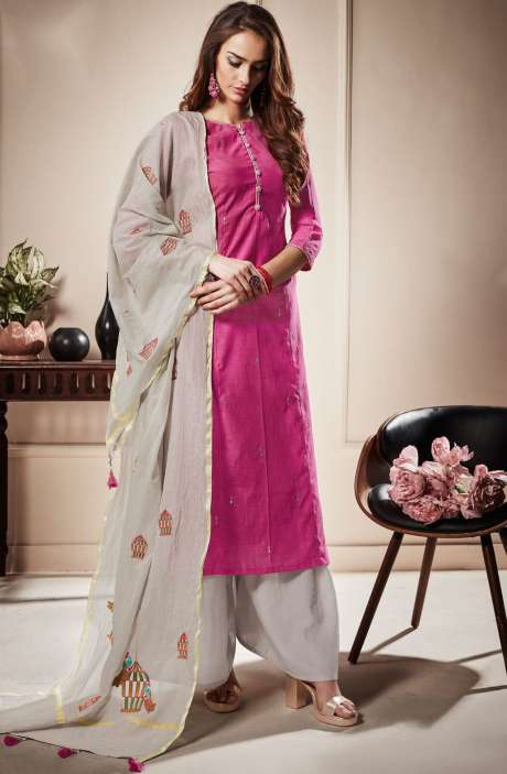 Festive Special Cotton Beautiful Semi-stitched Salwar Kameez In Pink & Off-White - RAA1802R