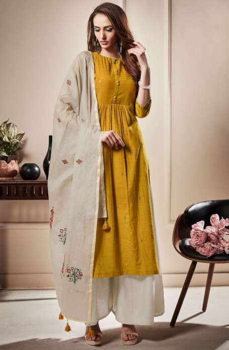 Cotton Beautiful Semi-stitched Salwar Kameez In Mustard Yellow & Off-White - RAA1804