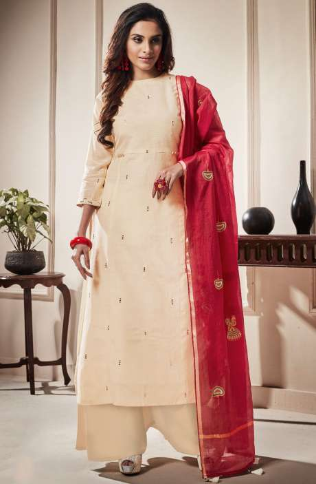 Cotton Beautiful Semi-stitched Salwar Kameez In Cream - RAA1805