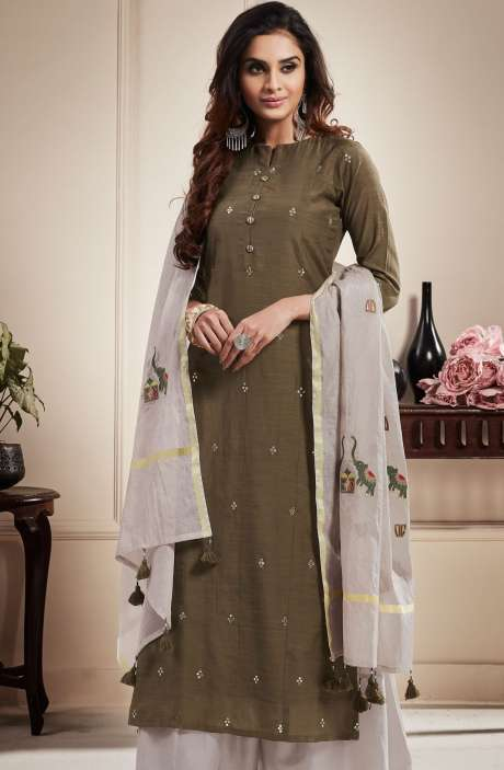 Cotton Beautiful Semi-stitched Salwar Kameez In Mehndi & Off-White - RAA1806