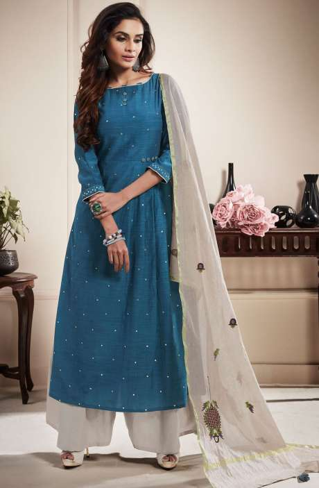 Cotton Beautiful Semi-stitched Salwar Suit In Blue & Off-White - RAA1807