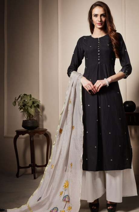 Cotton Beautiful Semi-stitched Salwar Kameez In Black & Off-White - RAA1808