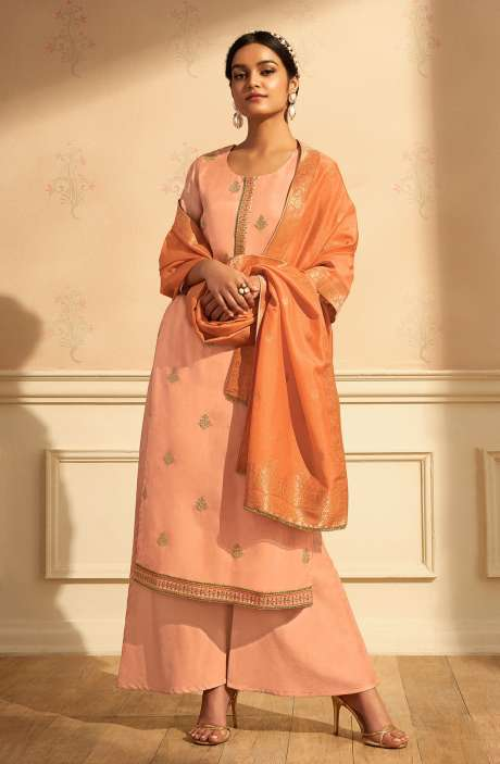 Designer Festive Wear Satin Silk Salwar Suit Set In Peach with Banarasi Silk Dupatta - RAAC0233