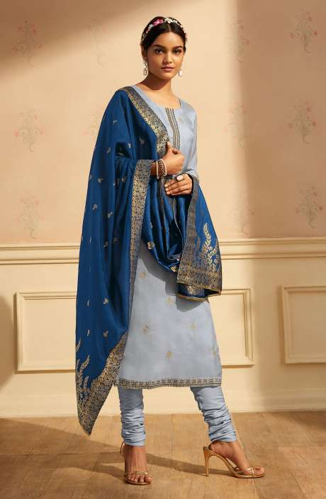 Designer Festive Wear Satin Silk Salwar Suit Set In Grey with Banarasi Silk Dupatta - RAAC0234